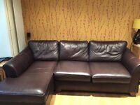 Marks and Spencer Leather Corner Chaise Sofa