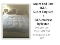 SUPER KING SIZE BED and MATTRESS. Ikea Malm Low - 150
