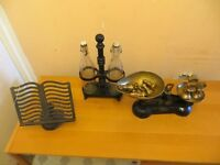 Vintage Cast Iron Scales, Bottle Holder and Recipe Holder