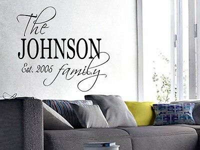 (FAMILY NAME EST. PERSONALIZED Wall Art Decal Quote Words Lettering Decor  DIY)