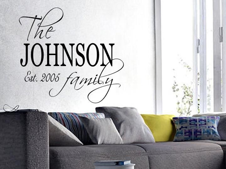 FAMILY NAME EST. PERSONALIZED Wall Art Decal Quote Words