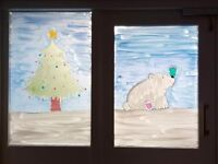 Hand painted christmas windows