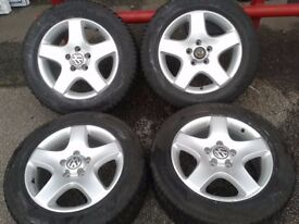 "GENUINE VW T5 T6 17"" LOAD RATED ALLOYS & 225/60/17 M+S WINTER TYRES 5X120PCD"