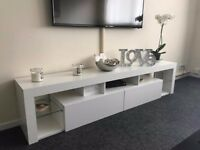 Stunning white high gloss Tv unit with LED light