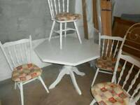 Hexagon kitchen table and four chairs
