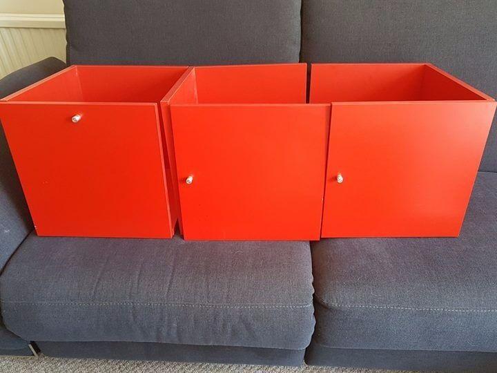 3 RED IKEA EXPEDIT/KALLAX WOODEN DOOR INSERTS & 3 RED IKEA EXPEDIT/KALLAX WOODEN DOOR INSERTS | in Colchester Essex ...