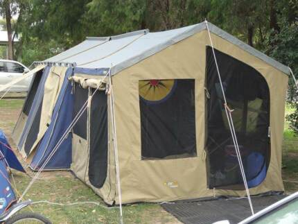 Oztrail 12 x 15 cabin canvas tent + sunroom and floor & Boab Cabin 1512 II Canvas Tent with Sunroom - Sleeps 12 People ...
