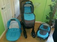 York Adamex travel system pram buggy stroller 3 in 1 baby boy blue grey excellent condition complete