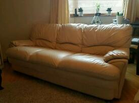 Cream Leather Harvey's Sofa - £120 (O.N.O)