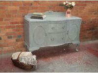 Beautiful Vintage Grey Painted Mahogany Sideboard - Can Deliver