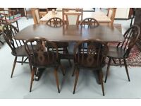 Ercol 371 Elm Refectory Dining Table With Six Prince Of Wales Chairs