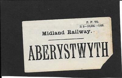 ABERYSTWYTH - MIDLAND RAILWAY - LUGGAGE LABEL