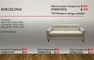 SOFA SETS BLOWOUT! MADE IN CANADA AND WE ARE OVERSTOCKED! CALL US FOR DETAILS!