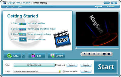 iOrgsoft AMV Video Converter, (AVI MP4 VOB MOV 3GP..etc.) to AMV & vice versa Mp4 Video Converter