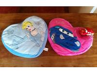 Disney cars and Disney Princess Cinderella soft plush heart cushions.