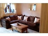 Corner sofa, swivel chair, foot stool