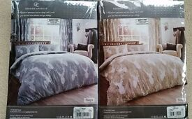 2 Kingsize Duvet sets, with Stag Head Pattern, 1x Grey & 1x Beige, cover +2 pillowcase per set NEW
