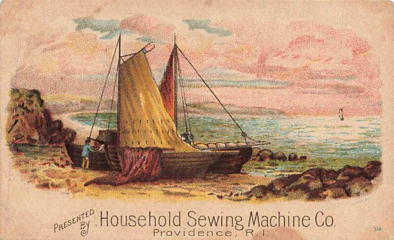 Household Sewing Machine Providence RI Boat Shore Victorian Trade Card