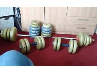 Barbell & Dumbells with 60kg Vinyl Weights