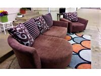 Brown Cuddle Corner sofa and armchair