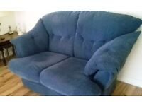 blue fabric 2 and 3 seater sofa