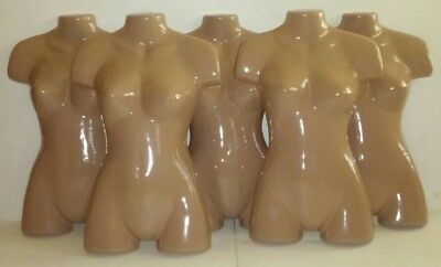 Mannequin Woman Torso Molded Forms Lot Of 5 Plastic Nude Retail Tshirt Display