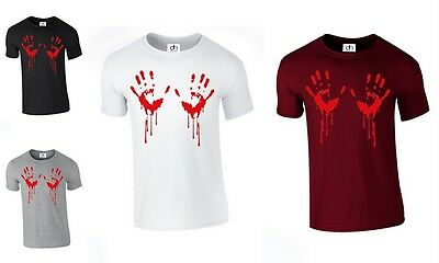 Bloody Hand T-SHIRT pumpkin Blood Stain Halloween Scary Horror (BLOODY,TSHIRT)