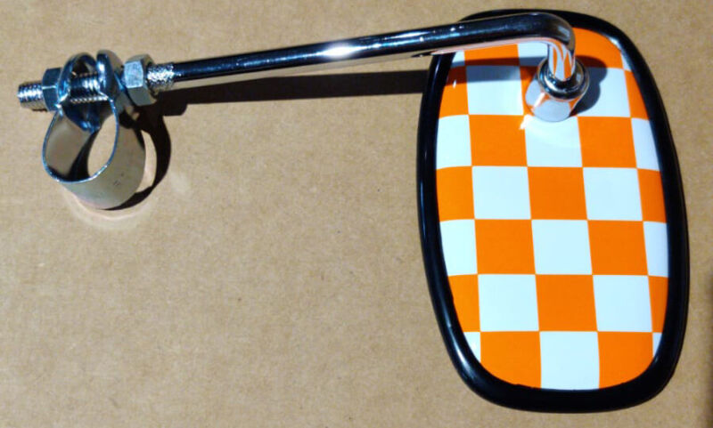 Orange Fastback Checkered Bicycle Mirror