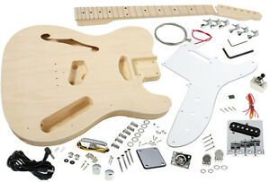 Solo Tele Style DIY Guitar Kit Semi Hollow Basswood Body TCK-100