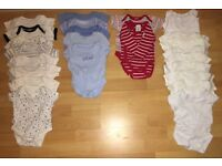 25 new/hardly worn body suits for 0-3 months