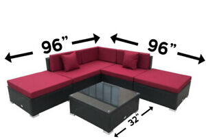Brand New Patio 6pcs set- Steel frame (brown w/ red cushions)