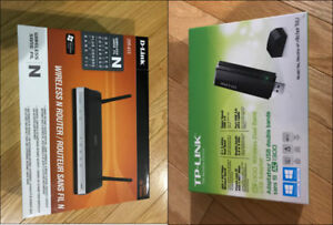 DLink Wireless N Router + USB wireless adapter Dual Band - New