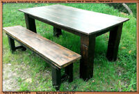 Now available, crafted with 150yr barnwood harvest table/bench