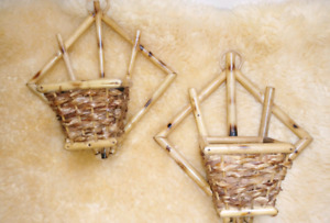 Vintage wicker wall hanging planters