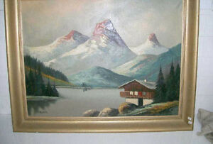 Old Oil Painting Signed O. Muller Chalet With Mountain View