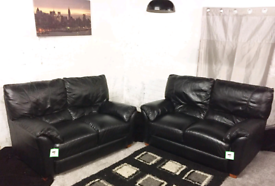 Ex display Black Real leather 2+2 seaters sofas