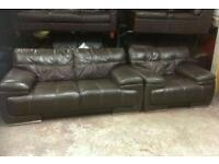 Genuine brown leather 2 seater sofa unshare