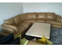 Large italian leather corner sofa