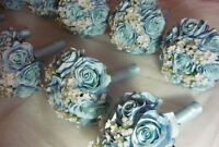 8 Blue & White Bridesmaids Wedding Bouquet Of Flowers Available