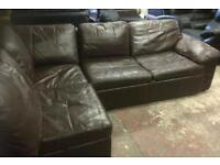 Brown leather corner sofa / bed