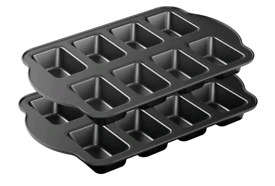Pack Non-Stick Mini Loaf Pan, Carbon Steel Baking Bread Pan, 8-Cavity