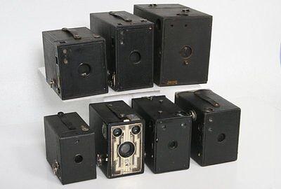 Seven antique cameras - Box Camera Collection - kodak, Ray, Ansco