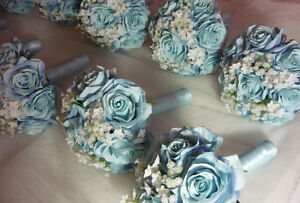 8 Blue & White Bridesmaids Wedding Bouquet Of Flowers Available London Ontario image 1