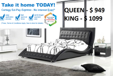 Beds - Stylish & Solid PU leather bed frame (Double/Queen/King)