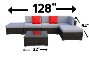 6 piece outdoor sectional conversational set lawn garden new