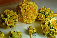8 Piece All Yellow Rose Wedding Bouquet Flower Package.