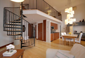 FULLY FURNISHED LOFT with mezzanine in heart of Old Port!