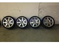 MERCEDES BENZ C220 SPORT AMG 7 STAR DIAMOND CUT ALLOY WHEELS & TYRES