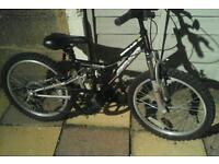 Kids full suspension mountain bike sort ages 5ish to 7ish 20inch wheels 6gears