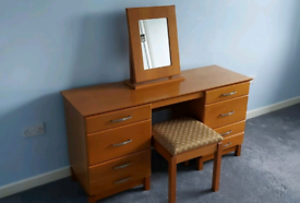 Dressing table with free standing mirror and stool